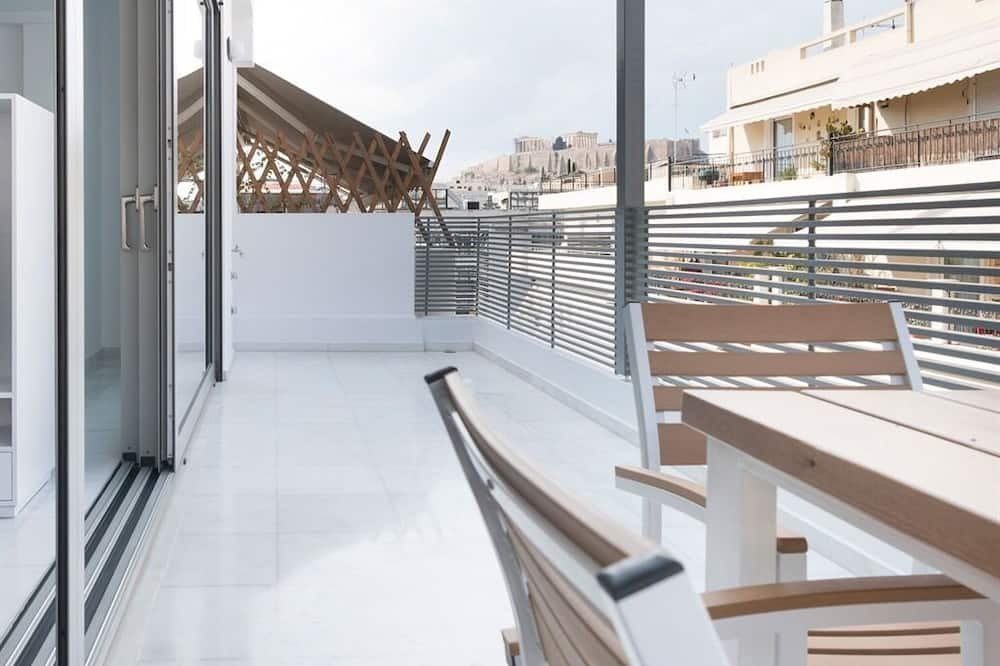Premium-Apartment, eigenes Bad, Stadtblick (Rooftop Terrace ) - Blick vom Balkon