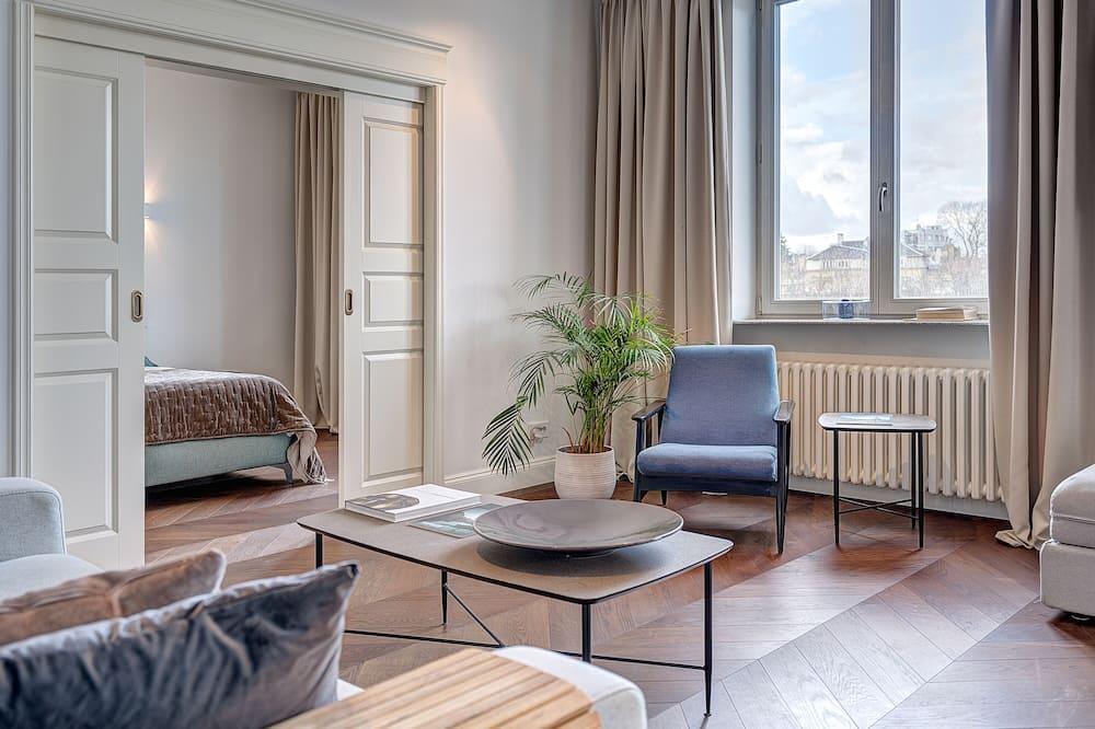 Апартаменты «люкс», 2 спальни, вид на реку - Гостиная