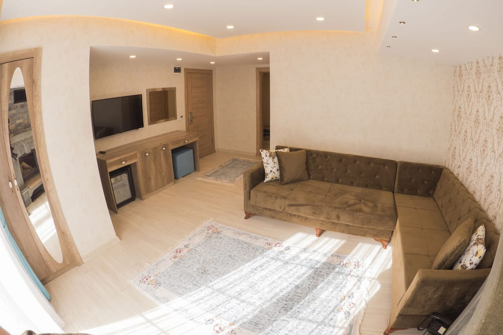 One Bedroom Suite With Fireplace and Balcony - סלון