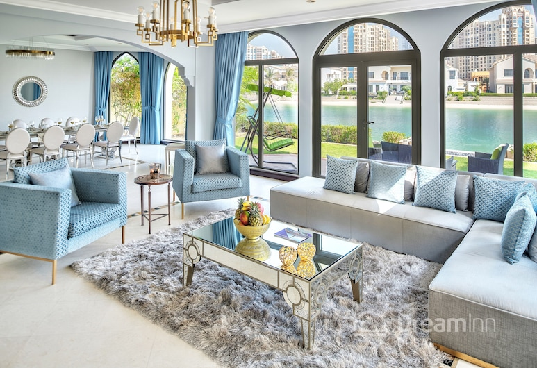 Dream Inn Dubai - Palm Villa Frond O, Dubajus, Prabangaus stiliaus vila, keli miegamieji, vaizdas į paplūdimį, Svetainė