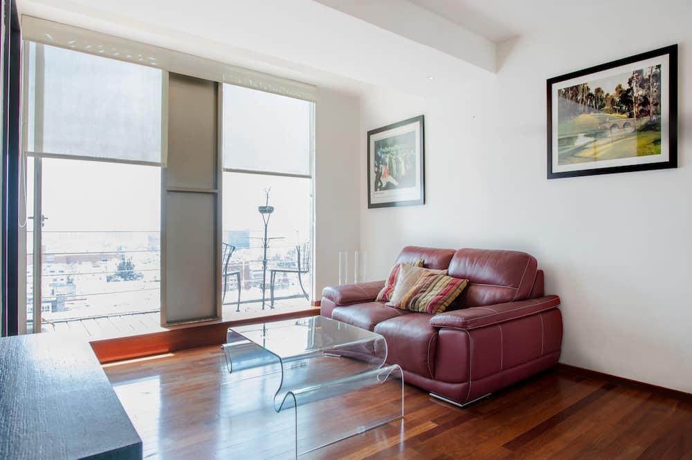 都會套房, 1 張加大雙人床, 廚房, 城市景 - 露台