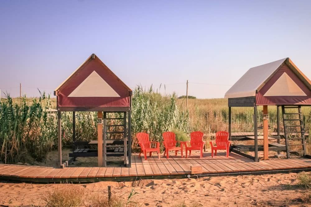Basic Tent, 1 Bedroom, Shared Bathroom, Resort View - Lanai