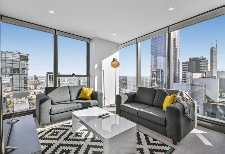 Serviced Apartments Melbourne - Eporo, Melbourne, Premier 2 Bedroom 1 Bathroom Apartment, Living Room