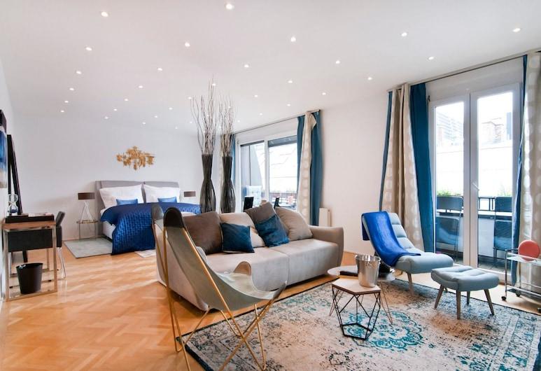 High Street Suites, Viyana, Premium Apart Daire, 1 En Büyük (King) Boy Yatak ve Çekyat, Balkon (Suite #3), Oturma Alanı