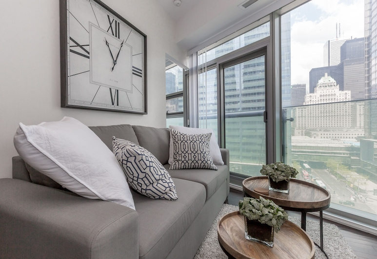 Noel Suites-York St and Lakeshore Blvd, Toronto, Luxe appartement, 1 slaapkamer, Hoek, Woonkamer
