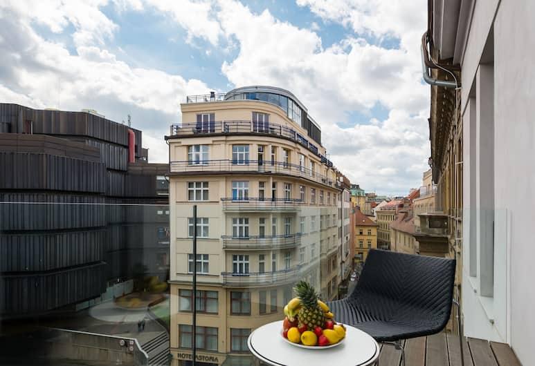 EMPIRENT Aquarius Apartments, Praha, Luxusný apartmán, 4 spálne, terasa, výhľad na mesto, Balkón