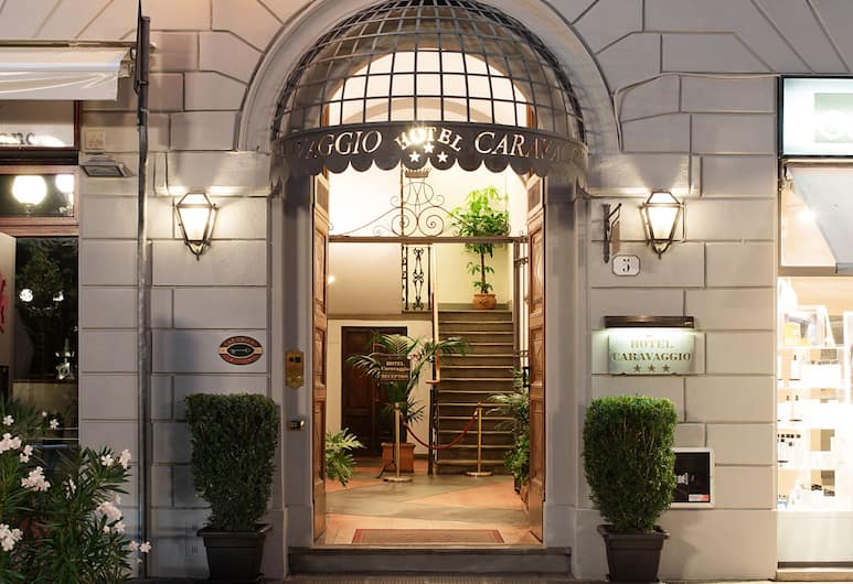 Hotel Caravaggio, Florence, Hotel Front – Evening/Night