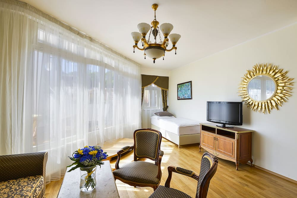 Külaliskorter, 1 magamistoaga, terrass, vaade linnale - Elutuba