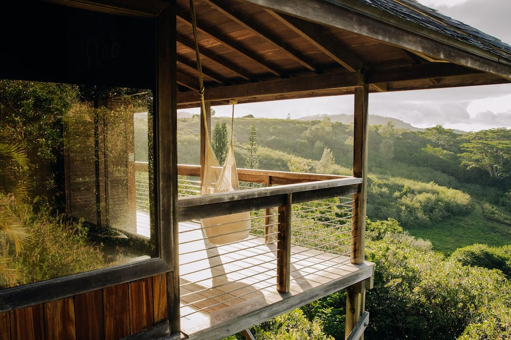 Hammock on the lanai of a cabin on the countryside