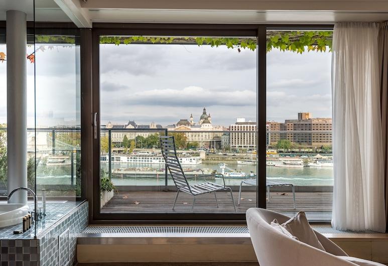 Lanchid 19 Design Hotel, Budapešta, Panorāmas luksusa numurs, terase, skats uz upi, Viesu numurs
