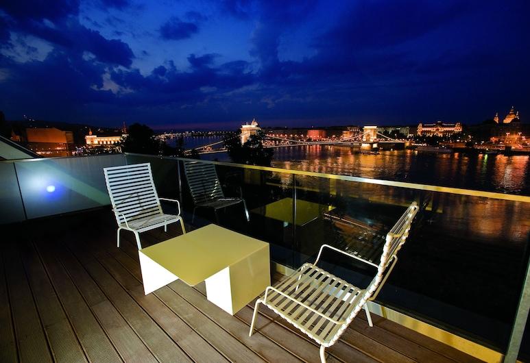 Lanchid 19 Design Hotel, Budapešť, Apartmán s panoramatickým výhľadom, terasa, výhľad na rieku, Terasa