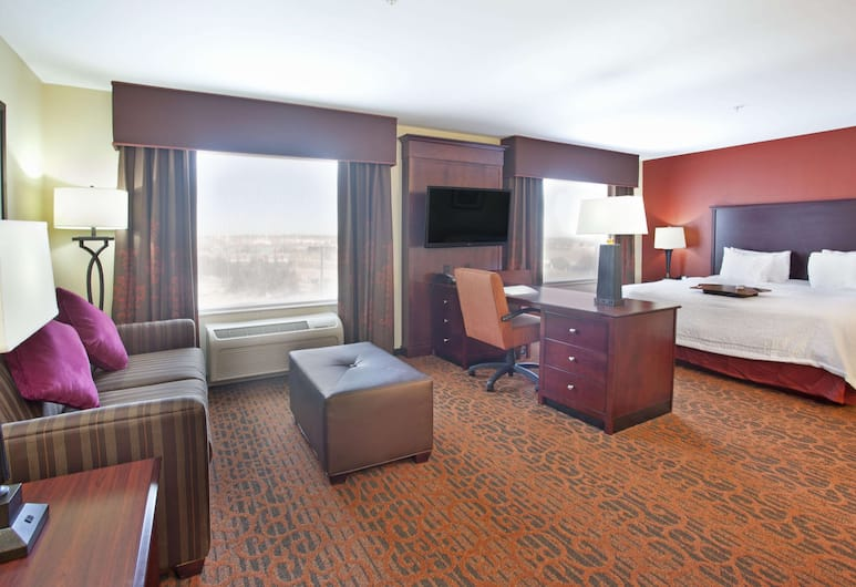 Hampton Inn & Suites Fort Worth-West-I-30, פורט וורת', סטודיו, מיטת קינג (Suite), אזור מגורים