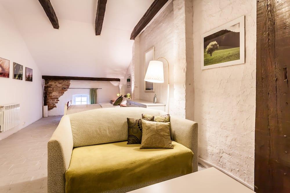Standartinio tipo dvivietis kambarys, 1 standartinė dvigulė lova, atskiras vonios kambarys - Svetainės zona