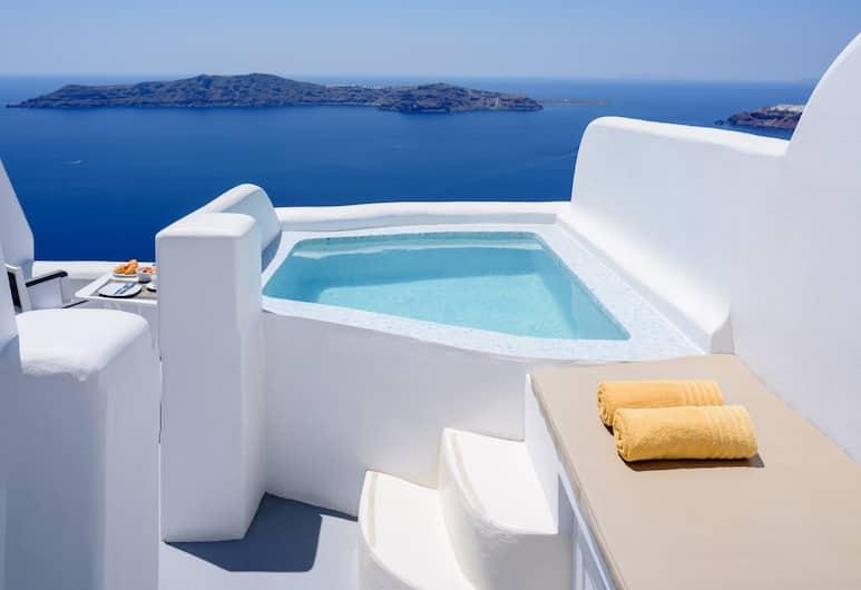 Abyssanto Suites & Spa, Σαντορίνη, Σουίτα, Μπανιέρα με Υδρομασάζ (VIP Caldera Sea and Sunset View), Μπαλκόνι