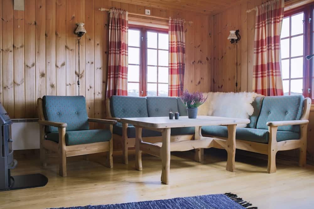Basic-Ferienhütte, 2Schlafzimmer, Seeseite - Wohnbereich