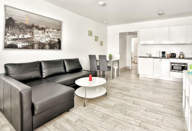 Delfino Suites South Beach, Miami Beach, Design apartman, 2 hálószobával, konyha, Nappali rész