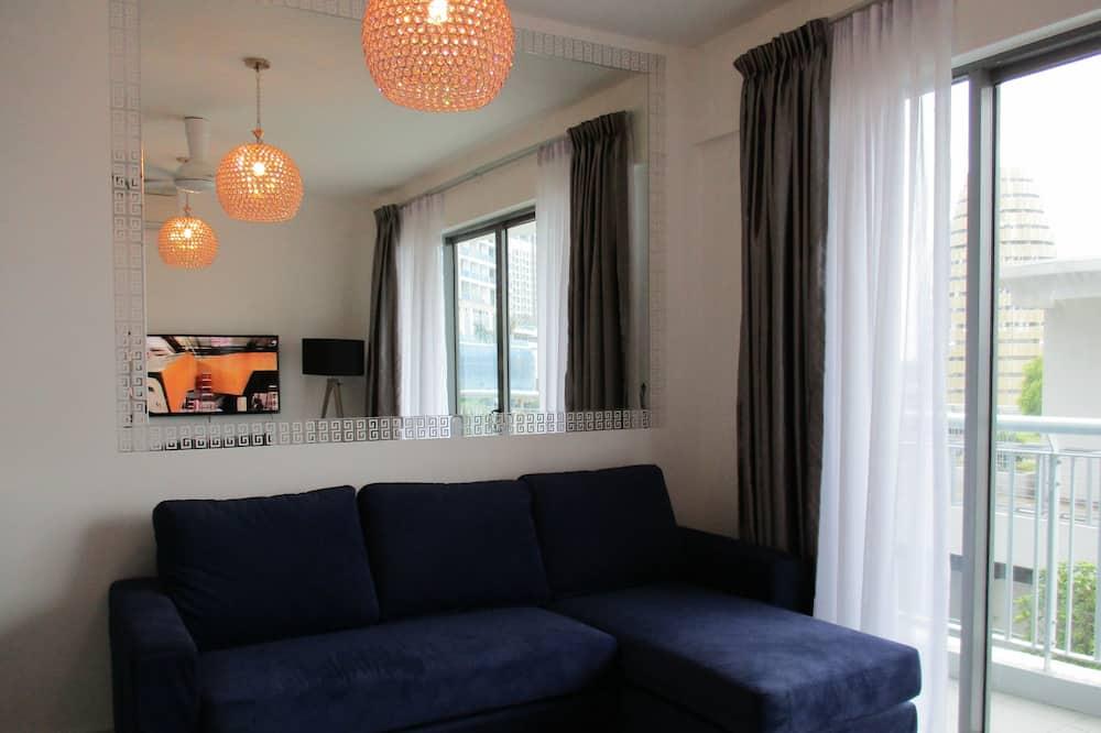Design appartement, 1 slaapkamer, Toegankelijk voor mindervaliden, uitzicht op jachthaven - Woonruimte
