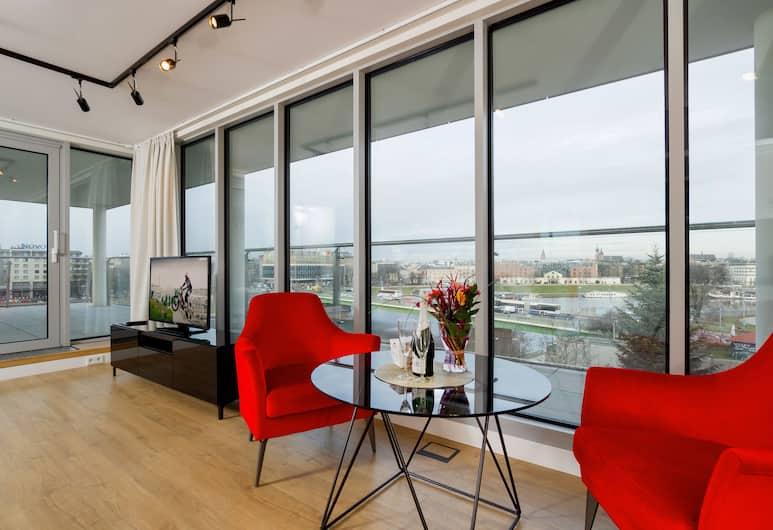 Riverside Aparthotel, Kraków, Penthouse Panoramic - terrass - utsikt mot floden, Rum