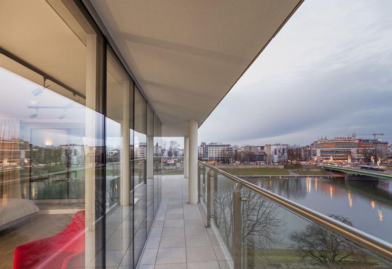 Riverside Aparthotel, Krakow, Panoramic Penthouse, Terrace, River View, Balcony