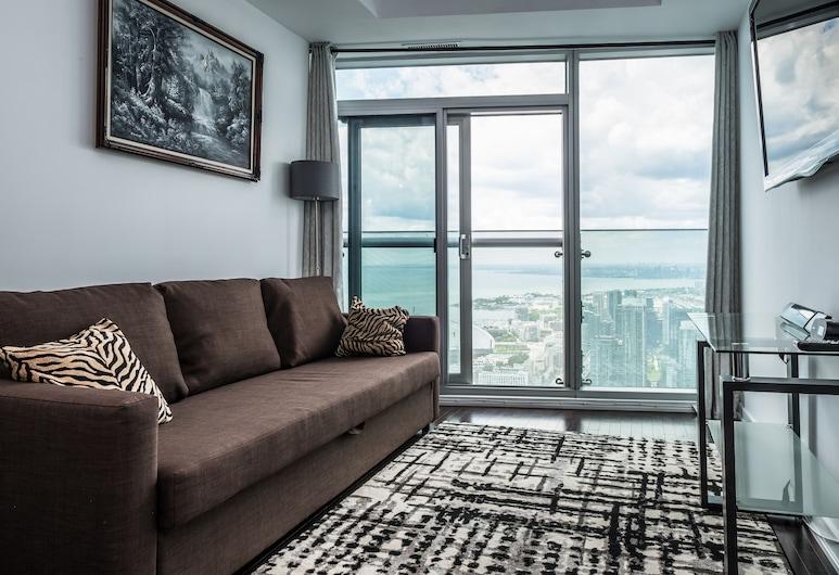 Condo in the sky with a breathtaking view, Toronto, Superior appartement, 1 slaapkamer, uitzicht op meer, Woonkamer