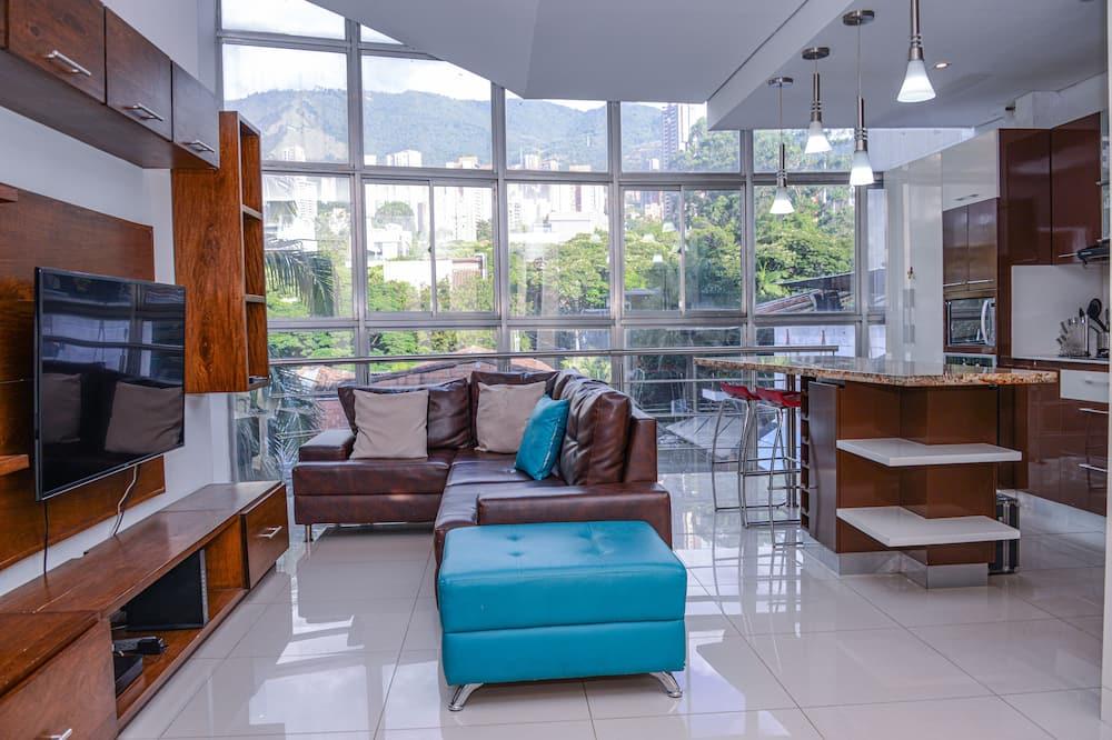 Luksus-penthouselejlighed - 3 soveværelser - balkon - byudsigt - Stue