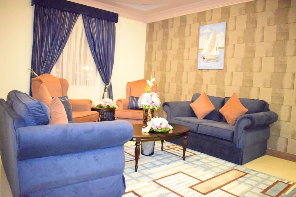 Suite, 2 chambres, accessible aux personnes à mobilité réduite, vue ville - Salle de séjour