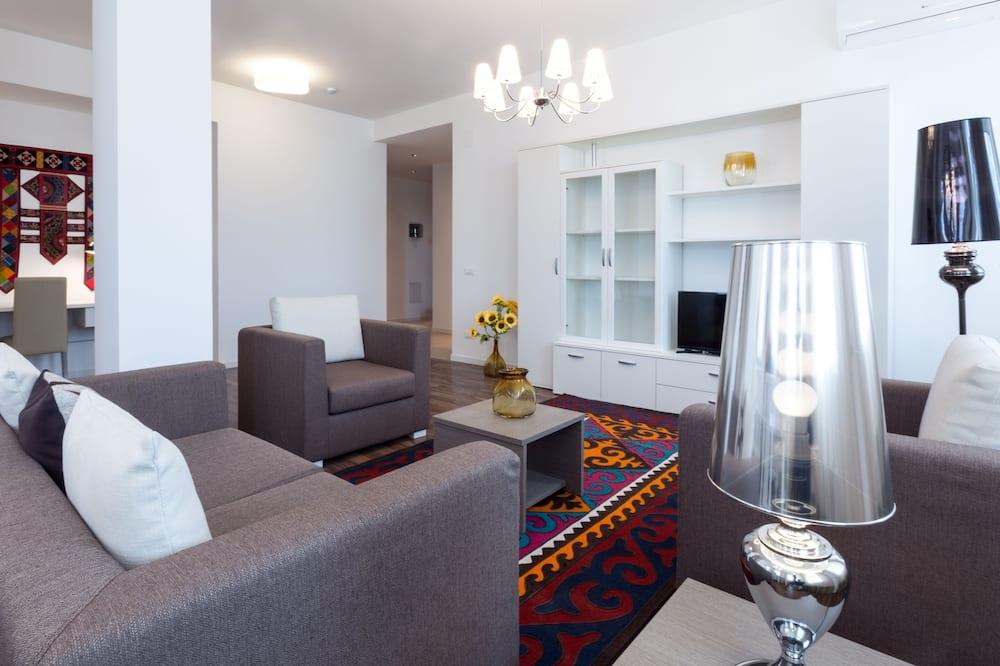 Apartamentai, 3 miegamieji, terasa - Svetainės zona