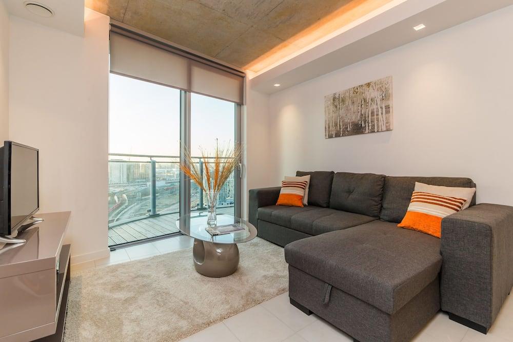Apartmán typu Deluxe, 1 spálňa, bezbariérová izba, výhľad na mesto - Obývacie priestory
