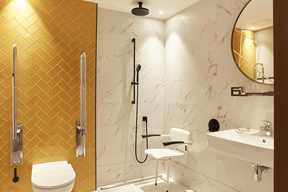 ห้องพัก, เตียงควีนไซส์ 1 เตียง, พร้อมสิ่งอำนวยความสะดวกสำหรับผู้พิการ, ปลอดบุหรี่ (Roll-In Shower) - ห้องน้ำ