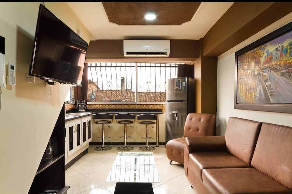 Romantic Apartment, 1 Bedroom, Hot Tub (1 Queen Bed) - Living Area