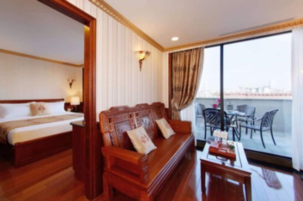 Penthouse ejecutivo, 1 cama King size, balcón - Sala de estar