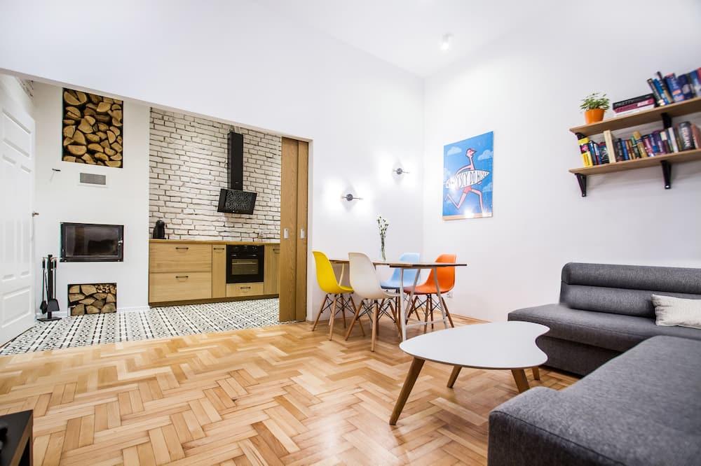 Dizaina dzīvokļnumurs, viena guļamistaba (Mezzanine Bed) - Dzīvojamā zona