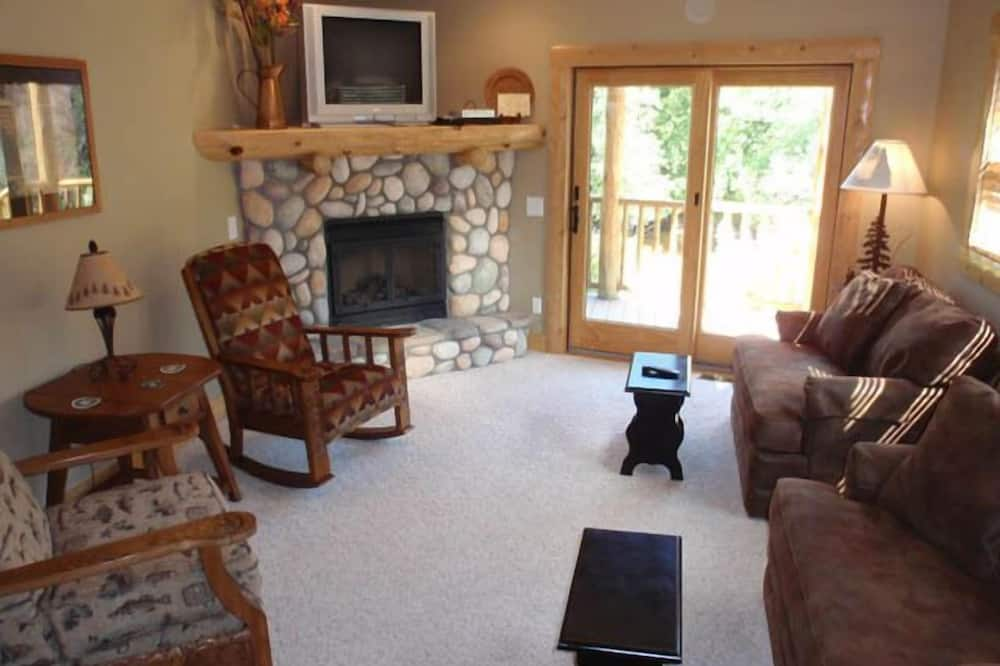 Duplex, 2 Bedrooms, Fireplace, River View - Living Room