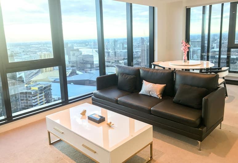Melbourne Southbank Platinum Tower Apartment , Southbank, Rodinný apartmán, 3 spálne, výhľad na oceán, Obývacie priestory