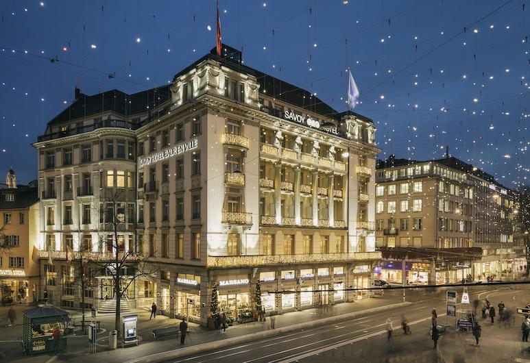 Savoy Hotel Baur en Ville, Zurique, Fachada do hotel (à noite)