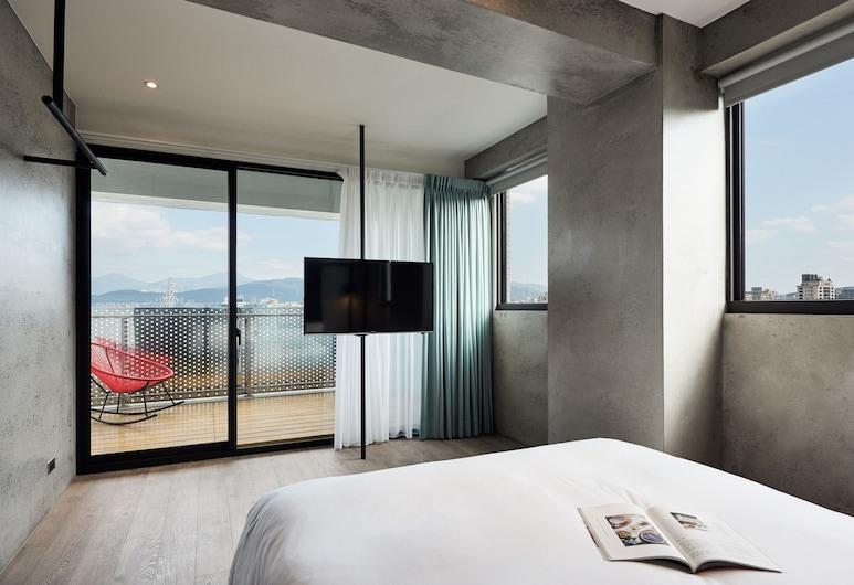 松河璞旅, 台北市, 豪華雙人房, 1 張標準雙人床, 露台, 河景, 客房景觀