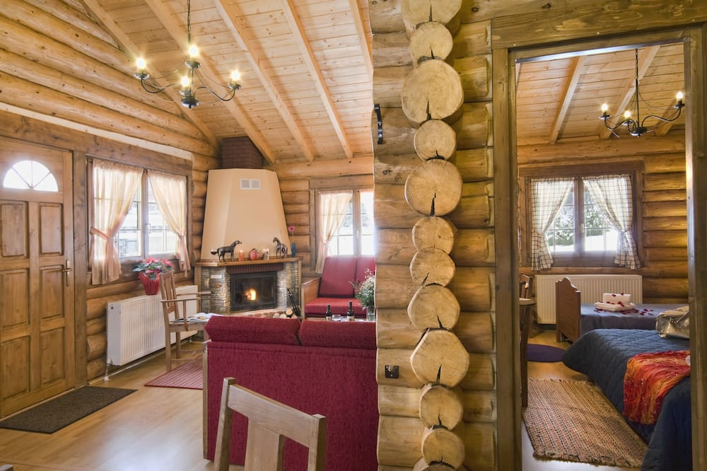 Grand Chalet, 2 Bedrooms, Fireplace, Mountain View - Living Area