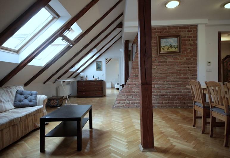 Generous Attic Apartment, Prag, Duplex Superior - 3 sovrum - 2 badrum - utsikt mot staden, Vardagsrum