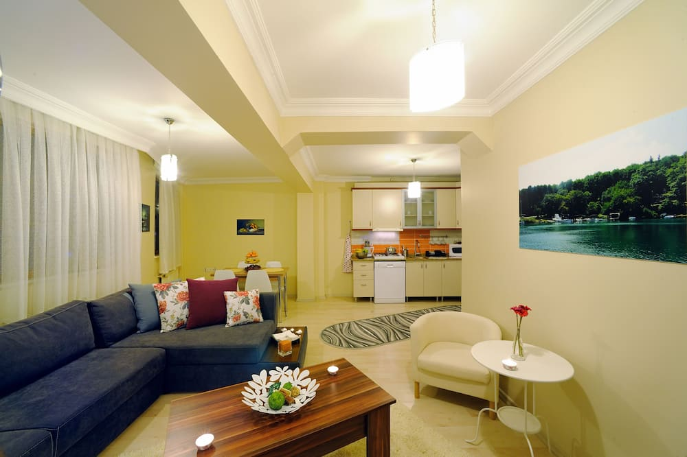 Family Apartment, 1 King Bed with Sofa bed, Kitchen - Living Area