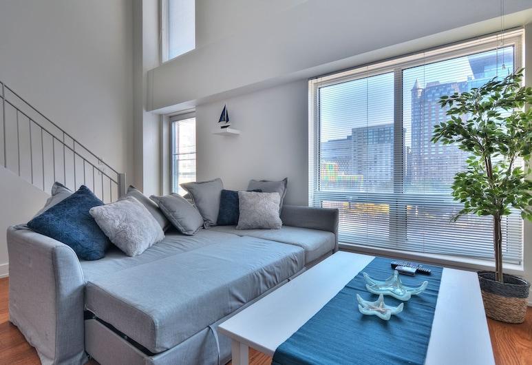 2 Floor Mezzanine Condo Near Convention Center, Montreal, Deluxe Loft, 1 Queen Bed with Sofa bed, Kitchen (5), Living Room