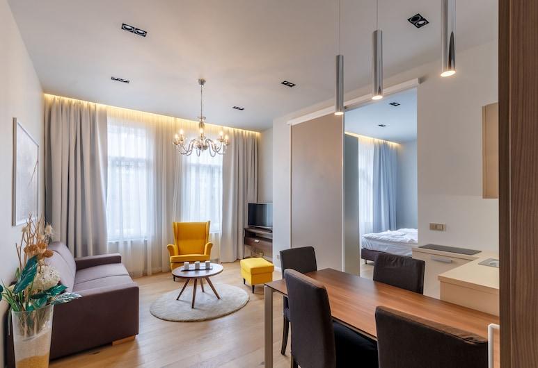 Apartments Bohemia Rhapsody, Karlovy Vary, Premium Apartment, 1 Bedroom, Kitchenette, River View (40 sqm), Living Area