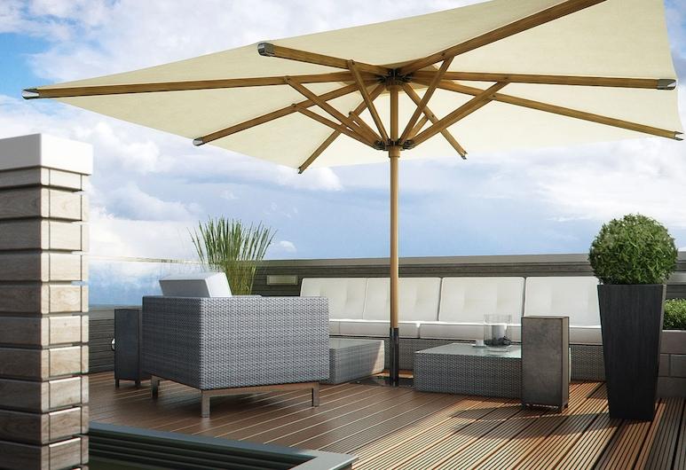 DORMERO Strandhotel Rügen, Binz, Penthouse, 3 kamar tidur, balkon, pemandangan laut, Teras/Patio