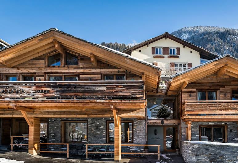 Üna Lodge, Bagnes, Fasaden på overnattingsstedet