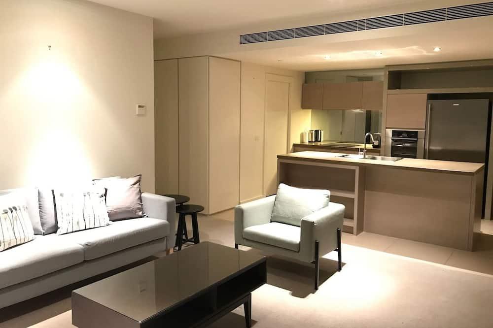 Luxe appartement, 2 slaapkamers, Uitzicht op zee - Woonkamer