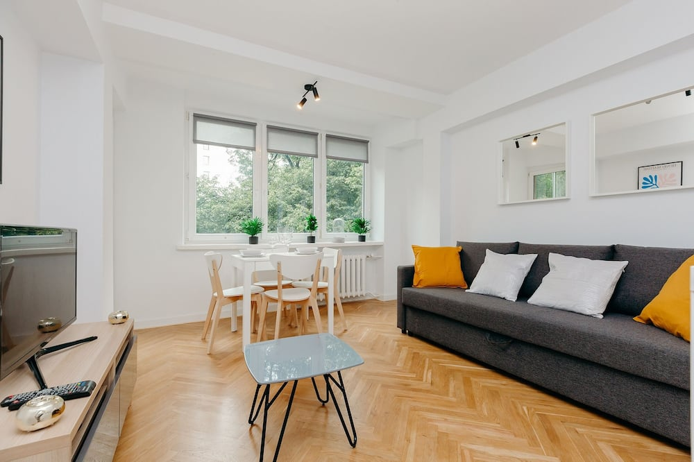 Апартаменти, 1 спальня, для некурців, з видом на місто - Вітальня