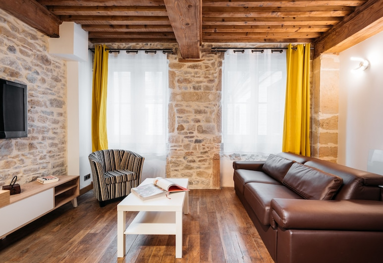 DIFY Royale - Hotel de Ville, Lyon, Lyxlägenhet - utsikt mot staden, Vardagsrum
