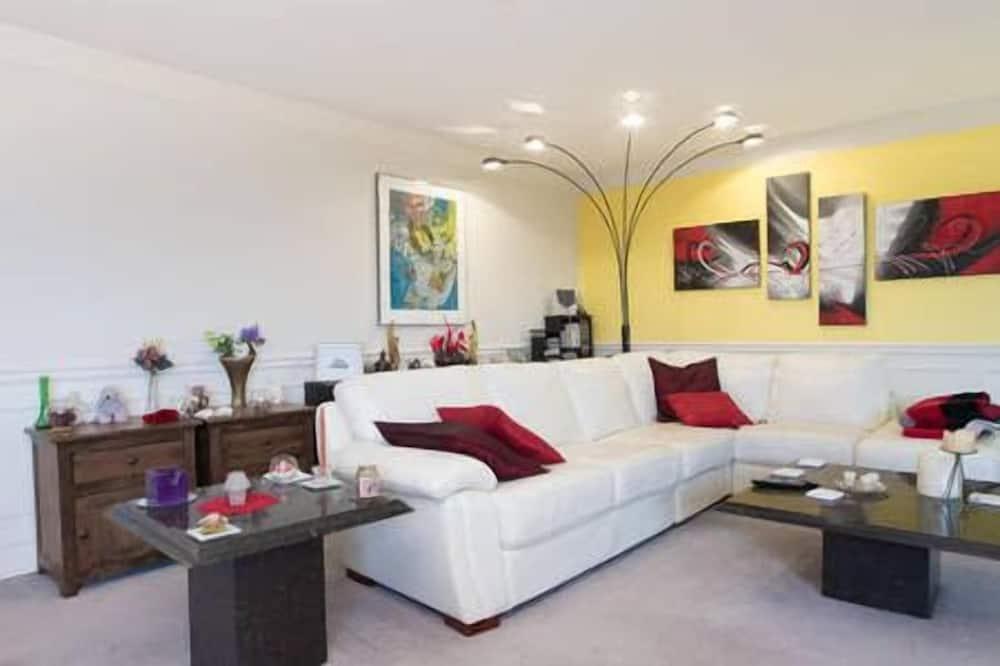 Luxusní soukromý byt, 2 ložnice, kuchyně, výhled na město - Obývací prostor