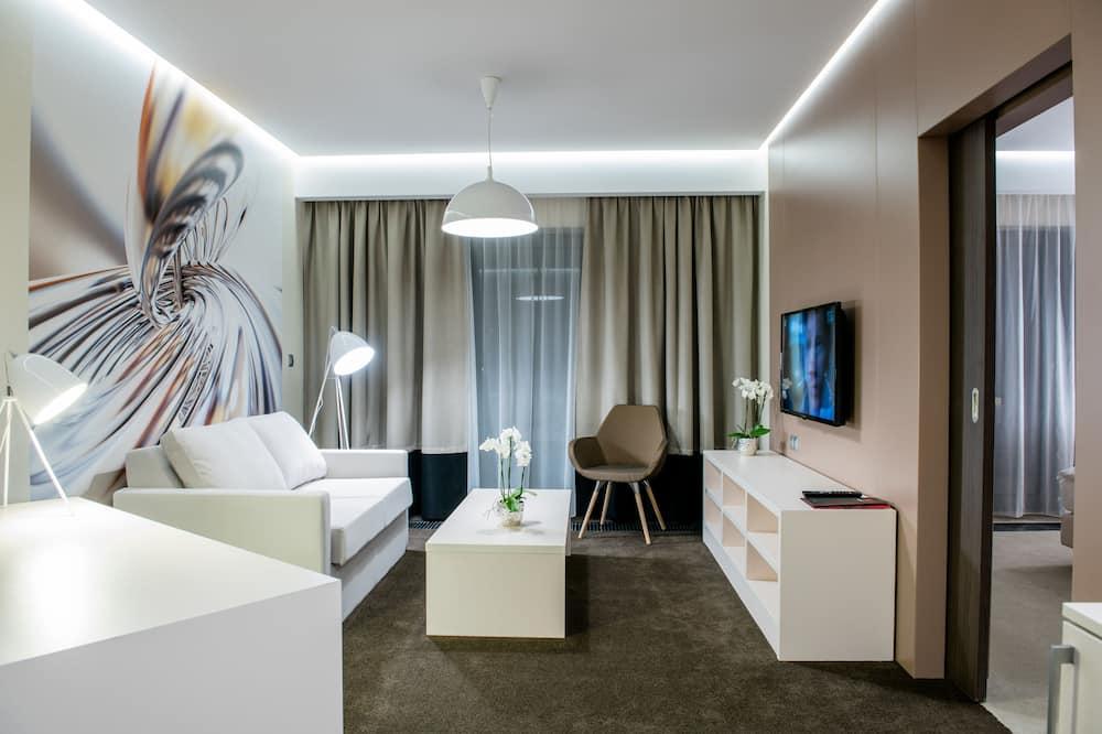 Appartement Exclusif, 1 chambre, 2 salles de bains, vue ville - Salle de séjour