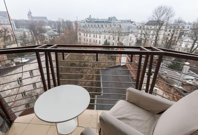 Erasmus Student Apartments, Kraków, Modern 5-Bedroom Penthouse with Piano (Sarego St.) #29, Balkon