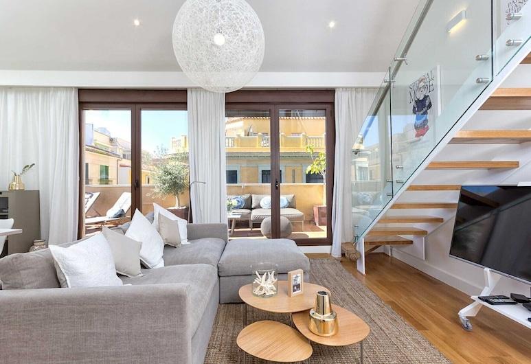 Solaga Souviron Suites, Málaga, Duplex, 2 soverom, spabadekar (Kim), Oppholdsområde